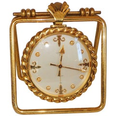 Handsome Emil Kofmehl Gilt Bronze Brass Fleur de Lis Table Travel Clock