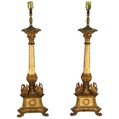 Pair of Giltwood Torchere Table Lamps