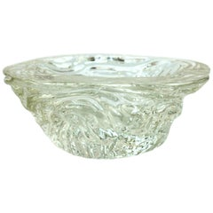 Seguso Murano Clear Textured Glass Bowl