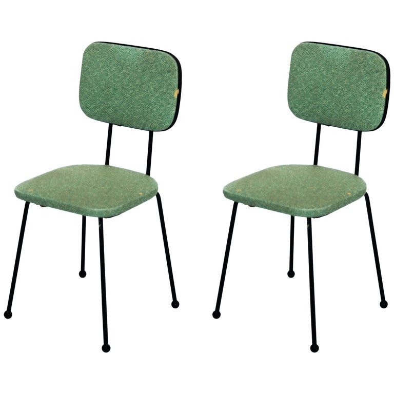 Pair of Vinyl Upholstered Wrought Iron Chairs, Vintage, USA, Mid-20th Century