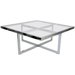 French Maison Charles et Fils Square Chrome and Brass Coffee Table, circa 1970