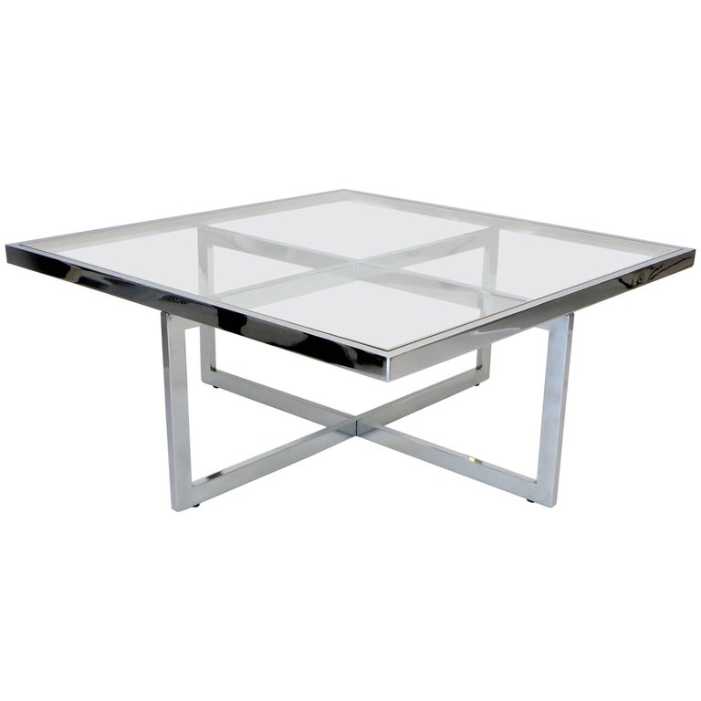 5486d658c66ee French Maison Charles et Fils Square Chrome and Brass Coffee Table ...