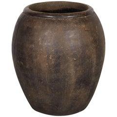 Large Vintage Thai Embossed Clay Jar