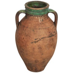 Tall Antique Terracotta Olive Jar with Green Glazed Rim