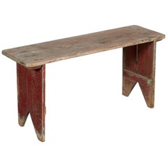 Simple American Country Bench with Great Wear and Old Paint