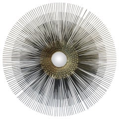 Striking Sunburst Metal Wall Art Sculpture in the Style of Jere