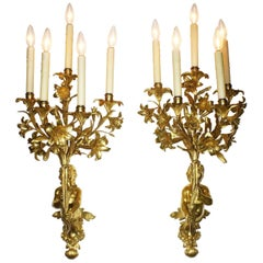 Pair of French 19th Century Neoclassical Style Gilt Bronze Putto Wall Lights