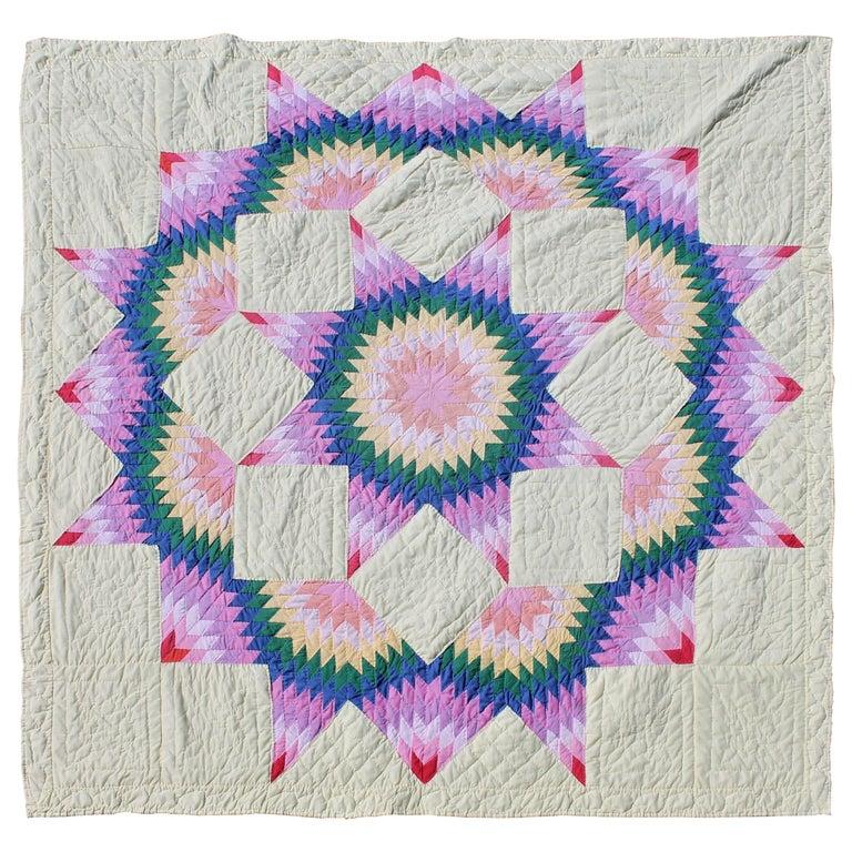 Broken Star Quilt In Pastel Colors At 1stdibs