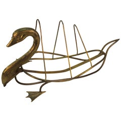 Swan Newspaper Holder or Magazine Rack