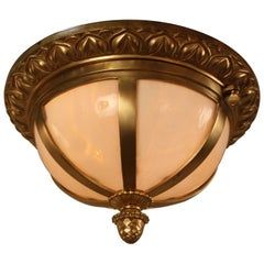 American Stained Glass and Bronze Flush Mount Chandelier