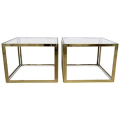 Pair of French Brass and Chrome Side Tables by Maison Charles et Fils circa 1970