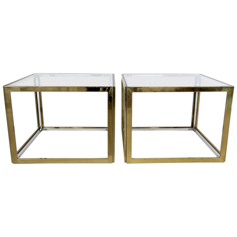 Pair of French Brass and Chrome Side Tables by Maison Charles et Fils circa 1970 For Sale