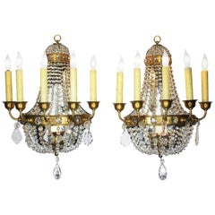 Pair of French Neoclassical Revival Louis XVI Style Cut-Glass Wall Sconces