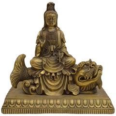 Chinese Bronze Quan Yin Statue with Buddha in Headdress