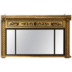English Regency Style Giltwood Landscape Pier Mirror