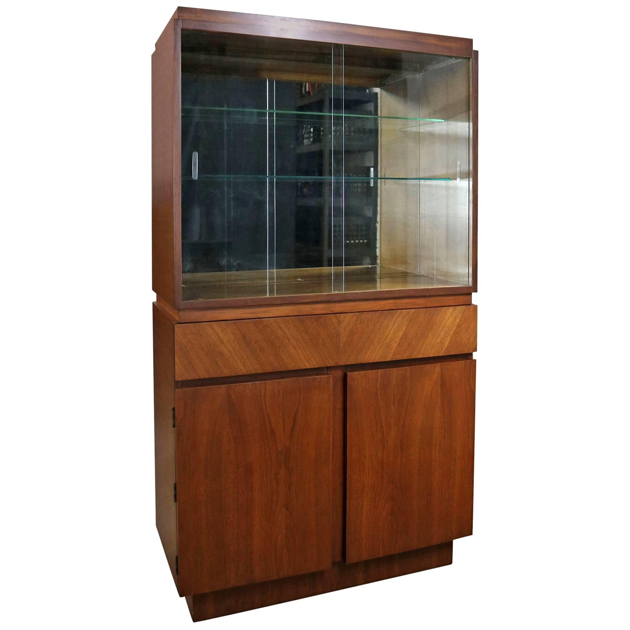 Two Part Mid Century Modern Walnut Credenza or Low China Cabinet ...