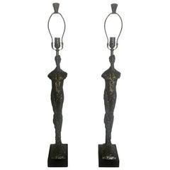 """Pair of Sculptural Tom Corbin Bronze """"Adam"""" Lamps with Bronze Finials"""