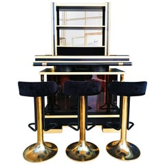 Set of French 1970s Dry Bar with Stools and Shelves