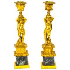 19th Century Pair of French Ormolu Cherub Candlesticks