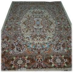Khatibi Design Genuine Persian Tabriz Hand-Knotted Silk and Merino Wool Rug