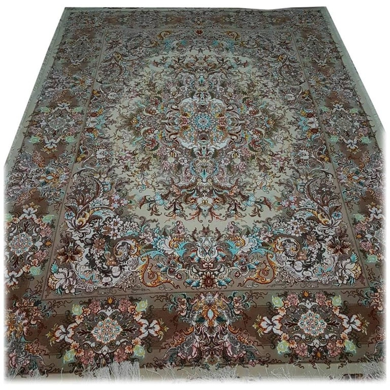 Khatibi Design Genuine Persian Tabriz Hand-Knotted Silk and Merino Wool Rug