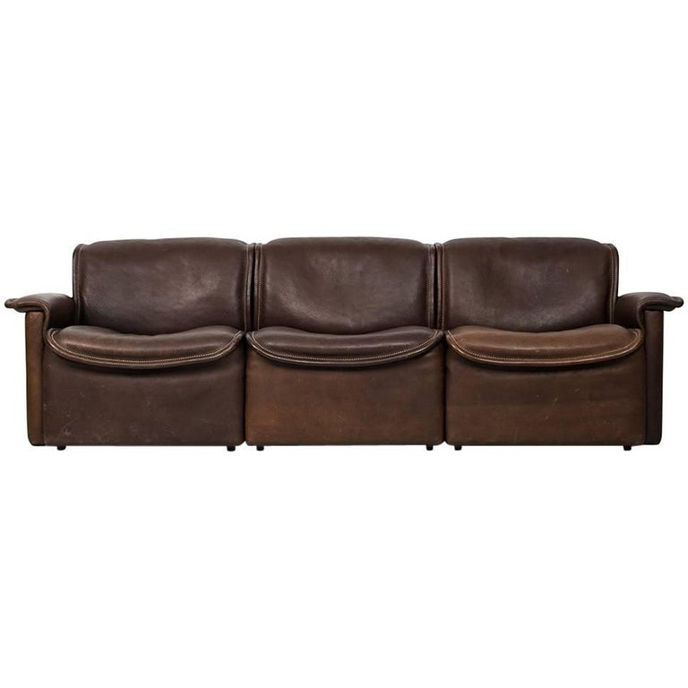 De Sede Three-Seat Sofa Model DS-12 by De Sede in Switzerland