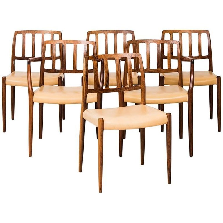 Niels O. Møller Dining Chairs Model 83 & 66 by J.L Møller Møbelfabrik in Denmark