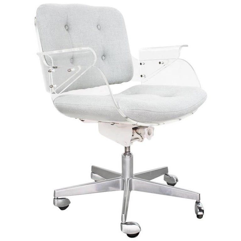 Lucite and chrome mid century Desk Swivel Chair by Hans Könecke for Tecta, 1950s