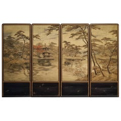 Japanese Embroidered Silk Four-Panel Folding Screen