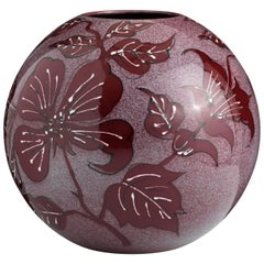 Large Red Hand-Painted Floral Vase