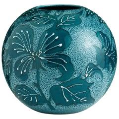Medium Blue Hand-Painted Floral Vase