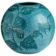 Small Blue Hand-Painted Floral Vase