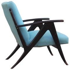 Mid-Century Modern Armchair 1950s Italian Design Wood Fabric