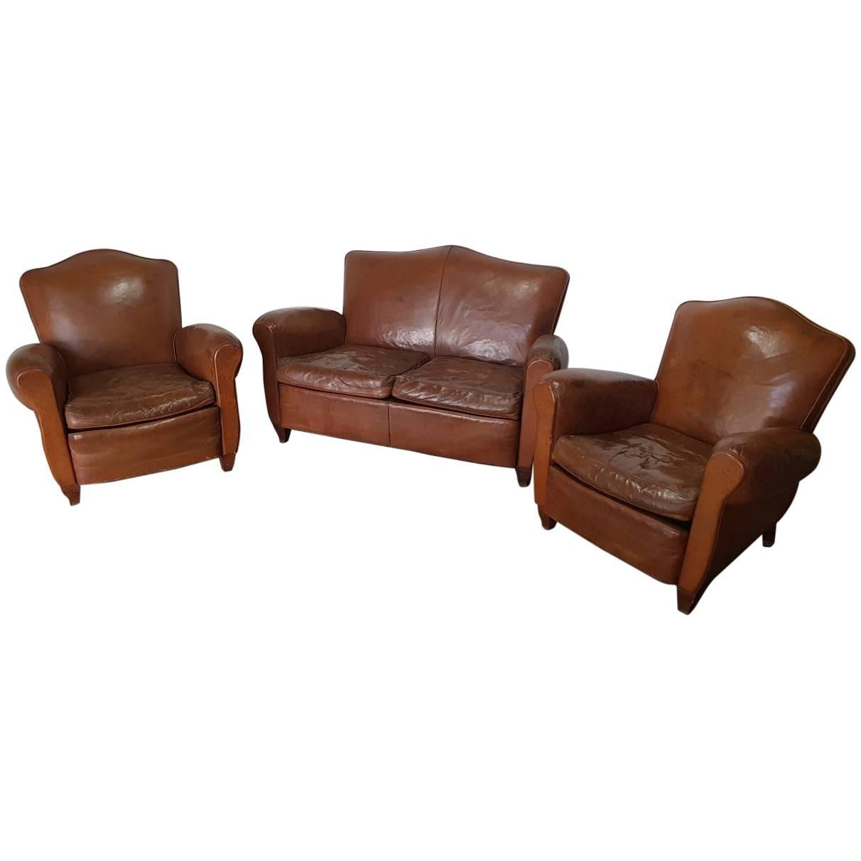 Vintage French Leather Club Chairs With Matching Sofa From The 1950s For  Sale