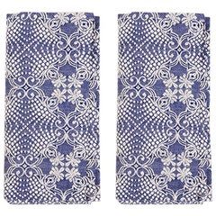 Blue Embroidered Napkins, Set of Two