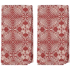 Red Embroidered Napkins, Set of Two