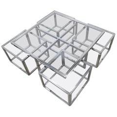 Chrome Coffee Table with Four Nesting Tables by Maison Charles