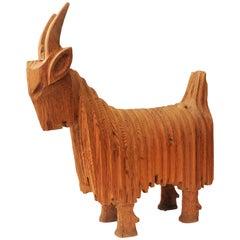 Big Scandinavian Wooden Goat Figurine