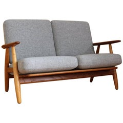 Hans Wegner Oak and Teak 'Cigar' Sofa Model GE240/2 GETAMA Denmark