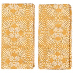 Yellow Embroidered Napkins, Set of Two