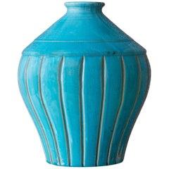 1940s Turquoise Ceramic Vase