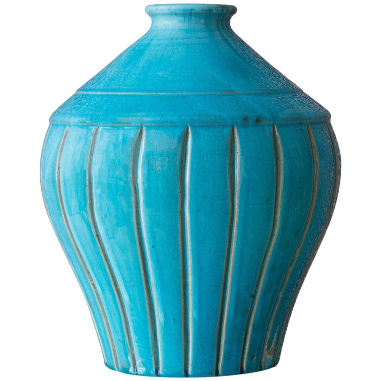 1940s Turquoise Ceramic Vase For Sale