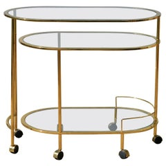 Brass and Glass Bar Cart in the Manner of Springer