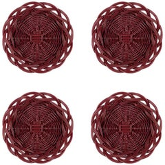Handwoven Wicker Mini Bread Baskets in Balmoral Red, Set of Four