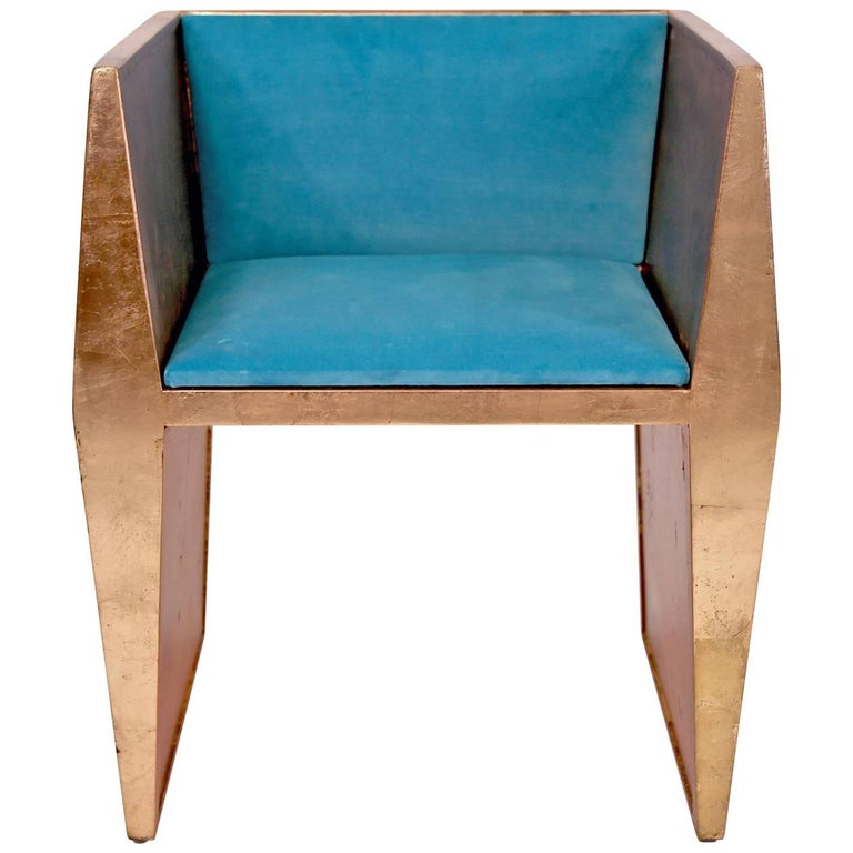 Sentient Sapience Chair Copper Leaf Finish Turquoise Upholstery
