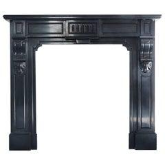 Antique Fireplace of Black Marble 'Noir De Mazy', Empire style, 19th century