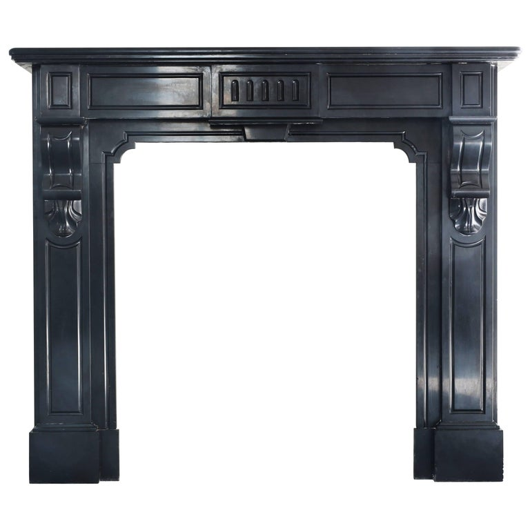 Antique Fireplace Of Black Marble Noir De Mazy 863 For Sale At