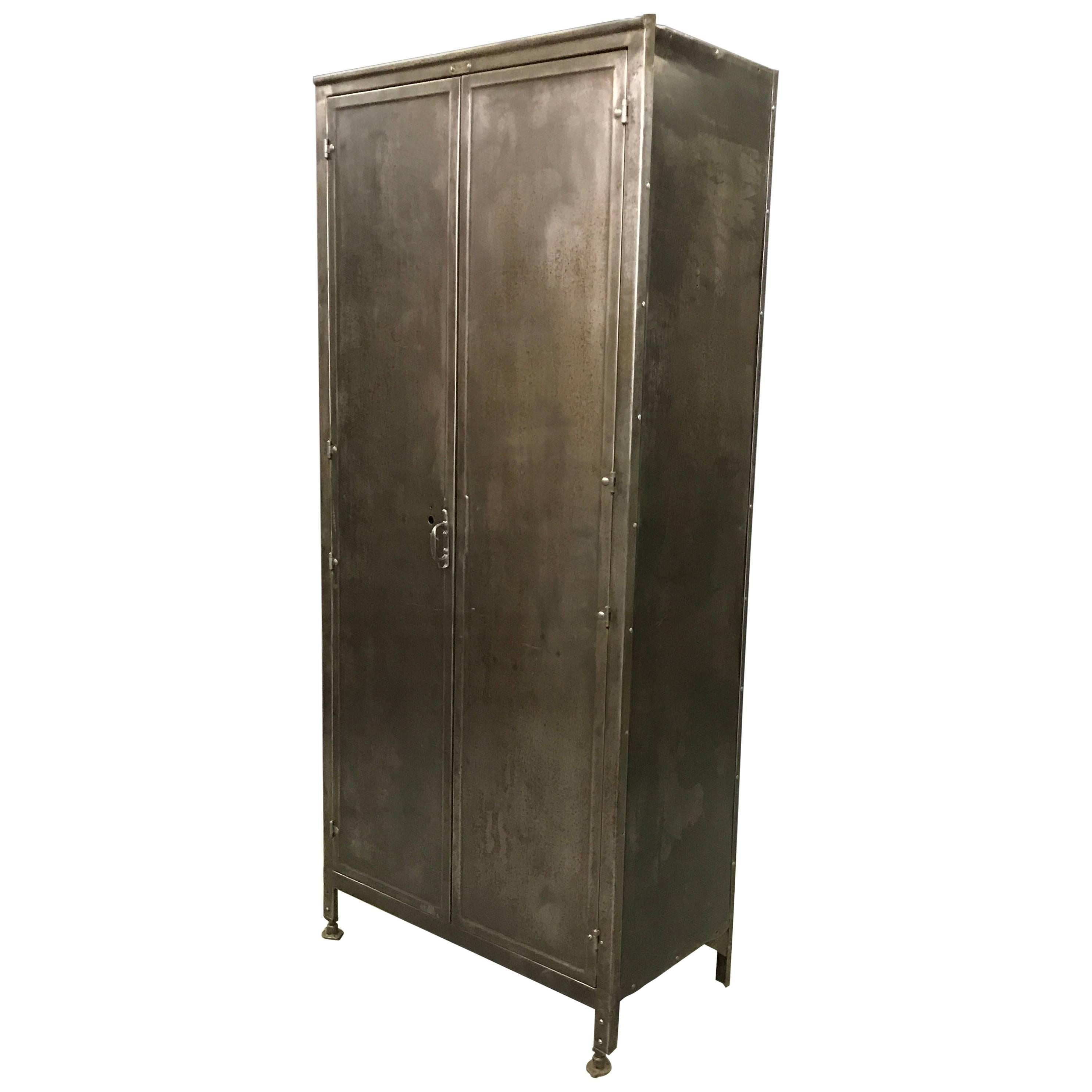 Industrial Double Door Brushed Steel Medart Steelbilt Armoire Wardrobe  Cabinet For Sale