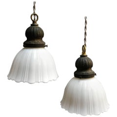 Pair of Fluted Milk Glass Bell Pendant Lights