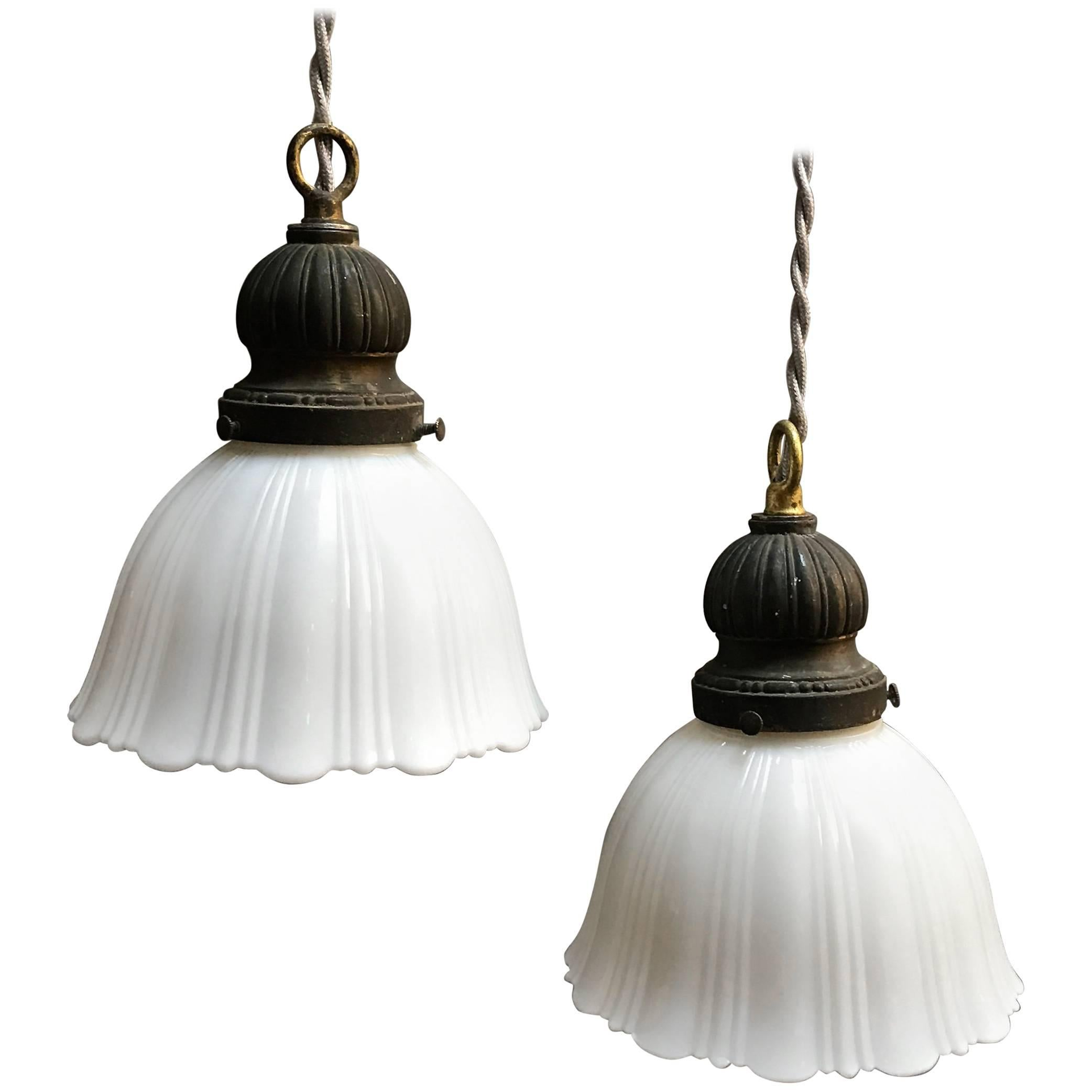 Pair of Fluted Milk Glass Bell Pendant Lights 1  sc 1 st  1stDibs & Pair of Fluted Milk Glass Bell Pendant Lights For Sale at 1stdibs azcodes.com